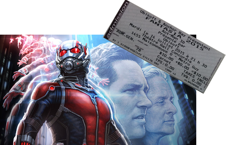 Ant man with fantasia ticket stub